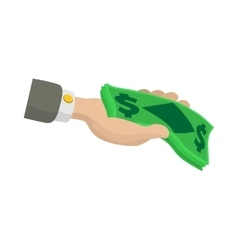 Hand holding dollar banknotes icon cartoon style vector