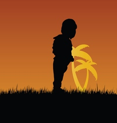 Child with palm in nature vector