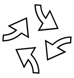 Centrifugal arrows stroke icon vector