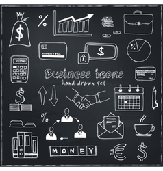 Set of doodle sketch business icons vector image