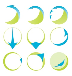 Abstract ribbons and arrows icons vector