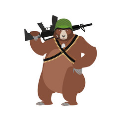 Bear soldiers grizzly military wild animal with vector