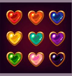 cartoon colorful heart gemstones vector image vector image