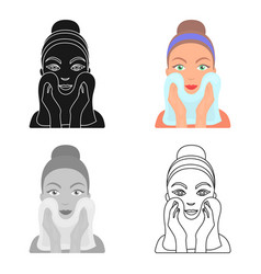 Cleaning of face skin icon in cartoon style vector