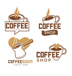 coffee shop promotional emblems with cups and vector image vector image