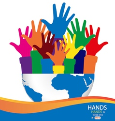 Colorful raised hands and globe vector image