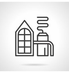 Distilling plant black line icon vector