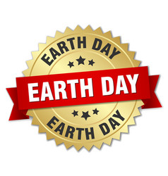 Earth day round isolated gold badge vector