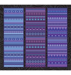 Ethnic various strip set motifs in violet colors vector