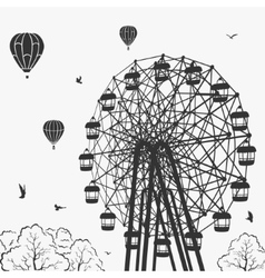 Ferris wheel at an amusement park vector