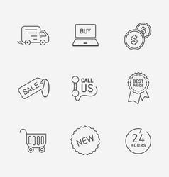 Flat contour shop icon set vector
