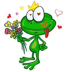 frog cartoon with flowers vector image vector image