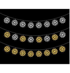 Gold and silver textured christmas lights set vector