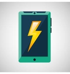 Green smartphone weather lightning icon design vector