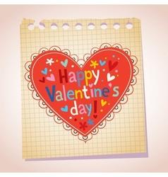 Happy Valentines day note paper cartoon vector image vector image