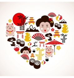 Heart shape with Japan icons vector image vector image