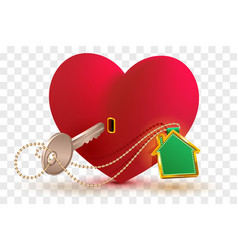 house is key to heart of your beloved red heart vector image vector image