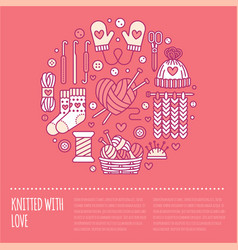 Knitting crochet hand made banner vector
