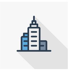 office city building urban skyscraper thin line vector image