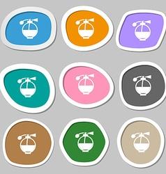 Perfume icon symbols multicolored paper stickers vector