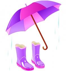 rain boots and umbrella vector image vector image