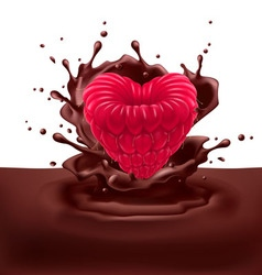 Raspberry heart with chocolate vector