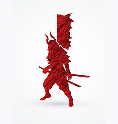 samurai warrior standing ready to fight with flag vector image vector image
