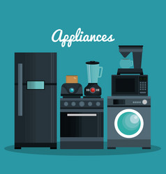 Set home appliances icons vector