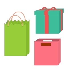 Set of empty boxes and packages vector