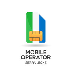 Sierra leone mobile operator sim card with flag vector