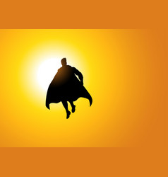 superhero flying against the sun vector image vector image