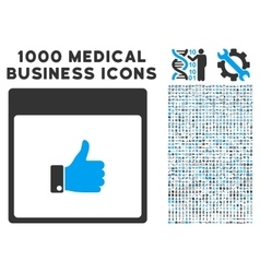 Thumb up hand calendar page icon with 1000 medical vector