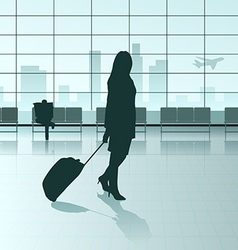 traveling girl vector image