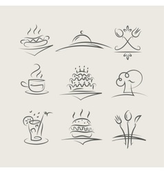 Food and utensils set of vector