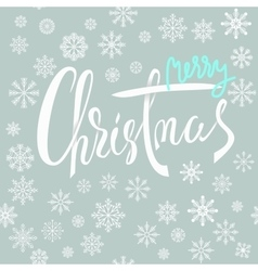 Merry christmas blue and white lettering design vector