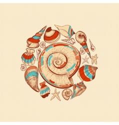 Shells round decoration vector image