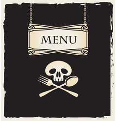 Skull with a spoon and fork vector
