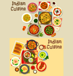 Indian cuisine healthy dinner icon set design vector