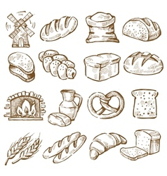Hand drawn bread vector