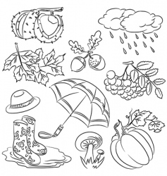 Autumn doodles vector