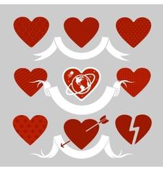 Set of symbols heart vector image