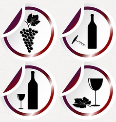 Vintage wine icons on round stickers with curved vector