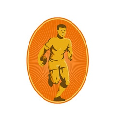 rugby player running passing the ball vector image