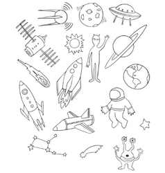 Space drawing set vector