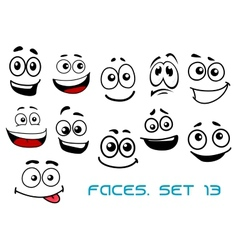 Cartoon faces with various emotions vector