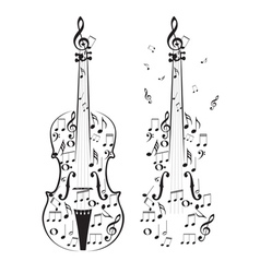 Violin with notes vector