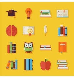 Flat reading knowledge and books objects set with vector