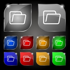 Folder icon sign set of ten colorful buttons with vector
