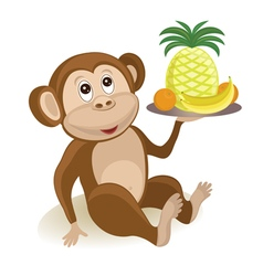 Cartoon monkey with fruits vector