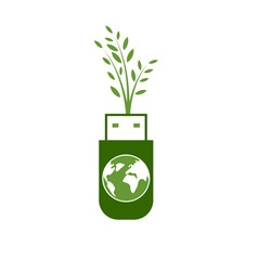 Green usb technology with globe vector